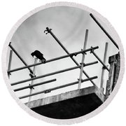 Crow Watches Over Round Beach Towel