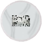Crowd Round Beach Towel