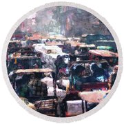 Crowded Streets Round Beach Towel