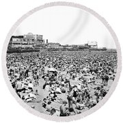 Crowds At Coney Island Beach Round Beach Towel