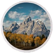 Crown For Tetons Round Beach Towel