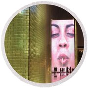 Crown Fountain At Millennium Park Round Beach Towel