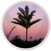 Crown In Pink Sky Round Beach Towel