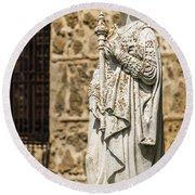 Crowned Statue - Toledo Spain Round Beach Towel