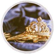 Crowned Tiara Jewellery Round Beach Towel