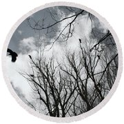 Crows In Cottonwoods Round Beach Towel