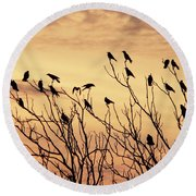 Crows In Their Twitter Cloud. Round Beach Towel