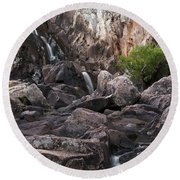 Crows Nest Falls During The Day. Round Beach Towel