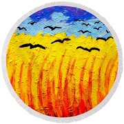 Crows Over Vincent's Field Round Beach Towel