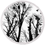 Crows Roost 1 - Black And White Round Beach Towel