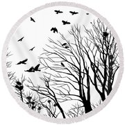 Crows Roost 2 - Black And White Round Beach Towel