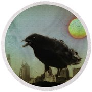 Crowzilla Round Beach Towel