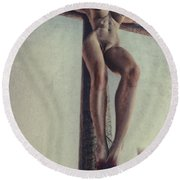 Crucified In The Street Round Beach Towel