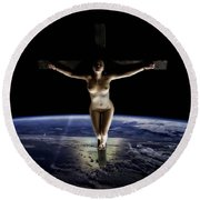 Crucified Tellus Round Beach Towel