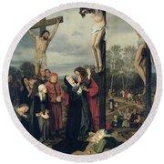 Crucifixion Round Beach Towel by Eduard Karl Franz von Gebhardt