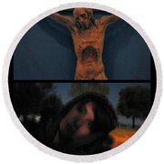 Crucifixion Round Beach Towel