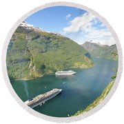 Cruise In Geiranger Fjord Norway Round Beach Towel