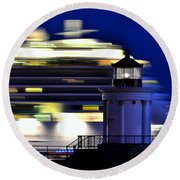 Cruise Ship At Bug Light Round Beach Towel