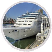 Cruise Ship At Canada Place Round Beach Towel