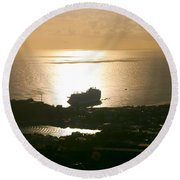 Cruise Ship At Sunset Round Beach Towel