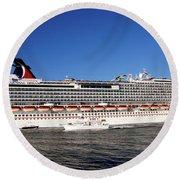 Cruise Ship Is Leaving The Port Round Beach Towel