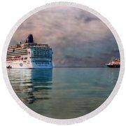 Cruise Ship Parking Round Beach Towel