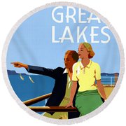 Cruise The Great Lakes Vintage Travel Poster Round Beach Towel