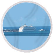 Cruiseship At Dockyard Bermuda Round Beach Towel