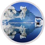 Cruising Between The Icebergs, Greenland Round Beach Towel