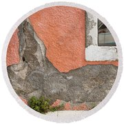 Crumbled Plaster Of An Orange Wall, Reflection Of A Boat In The Window Round Beach Towel