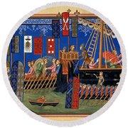 Crusades 14th Century Round Beach Towel