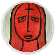 Crying Girl Round Beach Towel