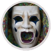 Crying Mask In Box Round Beach Towel by Garry Gay