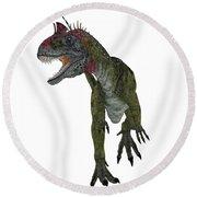 Cryolophosaurus Dinosaur Aggression Round Beach Towel