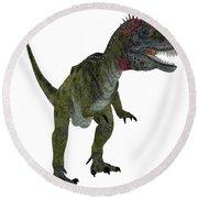 Cryolophosaurus On White Round Beach Towel