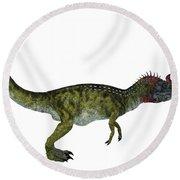 Cryolophosaurus Side Profile Round Beach Towel