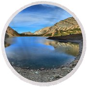 Crypt Lake Gold And Blue Round Beach Towel