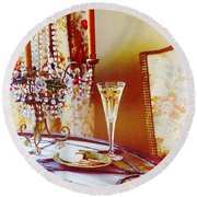 Crystal And Champagne Round Beach Towel