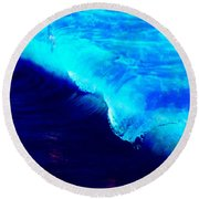 Crystal Blue Wave Painting Round Beach Towel