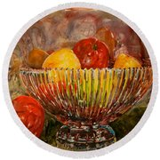 Crystal Bowl Of Fruit Round Beach Towel