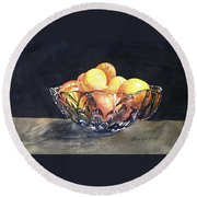 Crystal Bowl With Fruit Round Beach Towel