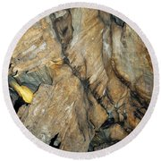 Crystal Cave Wall Formations Round Beach Towel