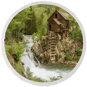 Crystal Mill In July Round Beach Towel