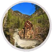 Crystal Mill Through The Trees Round Beach Towel