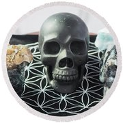 Crystal Skulls Michelangelo, Jesus And Xenia Round Beach Towel