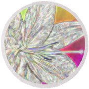 Crystal White Lily Round Beach Towel