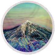 Crystalline Mountain Round Beach Towel