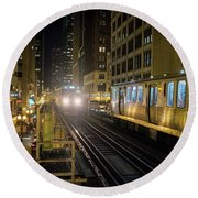 Cta Meet At The State-lake Street Station Chicago Illinois Round Beach Towel