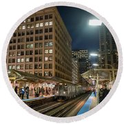 Cta Pulls Into The State-lake Street Station Chicago Illinois Round Beach Towel