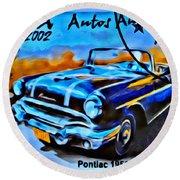 Cuba Antique Auto 1956 Catalina Round Beach Towel